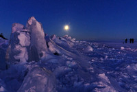 Eclipsed moon over Lake Superior Ice, 3/3/07