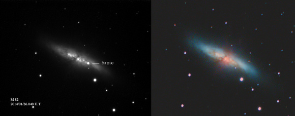 Image of the supernova, compared to image of M82 taken in 2010